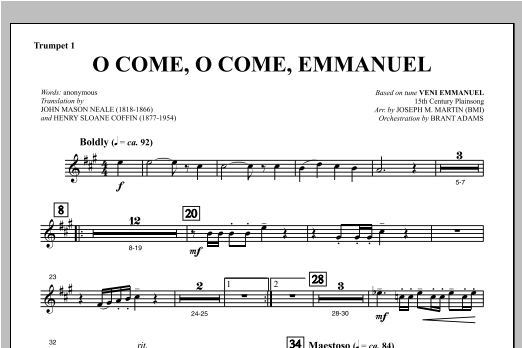 O Come, O Come, Emmanuel (from Carols For Choir And Congregation) - Bb Trumpet 1 Sheet Music