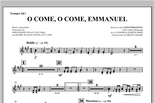 O Come, O Come, Emmanuel (from Carols For Choir And Congregation) - Bb Trumpet 2,3 Partition Digitale