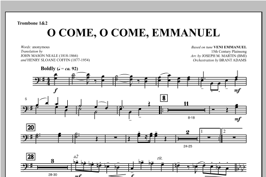 O Come, O Come, Emmanuel (from Carols For Choir And Congregation) - Trombone 1 & 2 Sheet Music