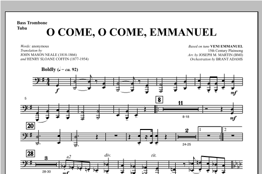 O Come, O Come, Emmanuel (from Carols For Choir And Congregation) - Bass Trombone/Tuba Sheet Music