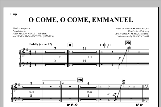 O Come, O Come, Emmanuel (from Carols For Choir And Congregation) - Harp (Choir Instrumental Pak)