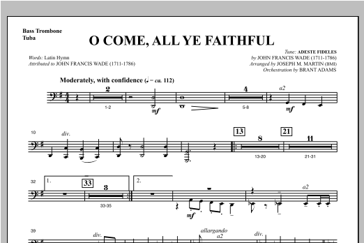 O Come, All Ye Faithful (from Carols For Choir And Congregation) - Bass Trombone/Tuba Sheet Music
