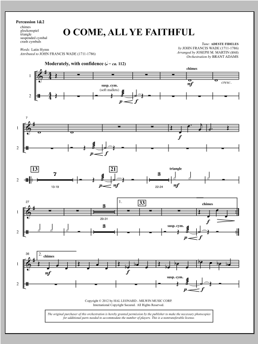 O Come, All Ye Faithful (from Carols For Choir And Congregation) - Percussion 1 & 2 (Choir Instrumental Pak)