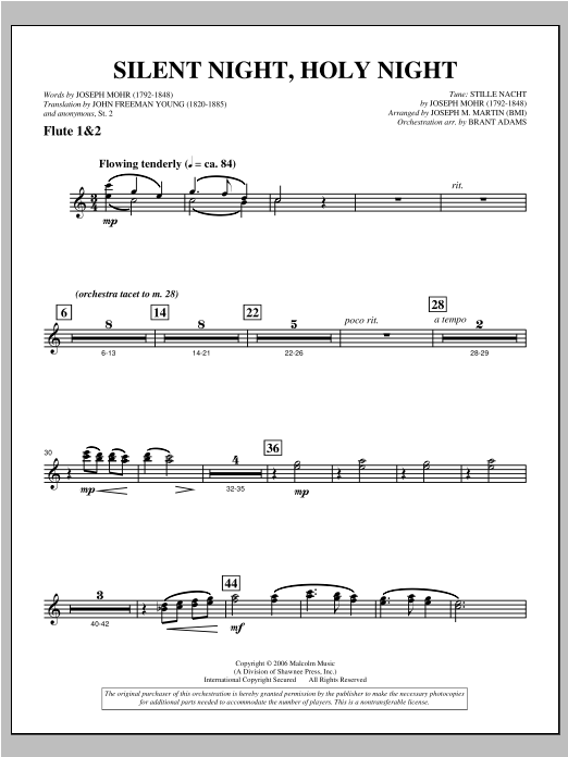"""Silent Night, Holy Night (from """"carols For Choir And Congregation"""") - Flute 1 & 2 Sheet Music"""
