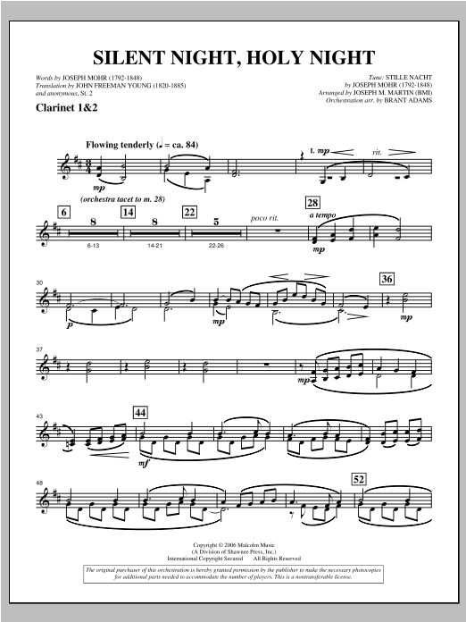"""Silent Night, Holy Night (from """"carols For Choir And Congregation"""") - Bb Clarinet 1,2 Sheet Music"""