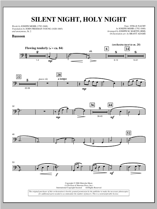 "Silent Night, Holy Night (from ""carols For Choir And Congregation"") - Bassoon Sheet Music"