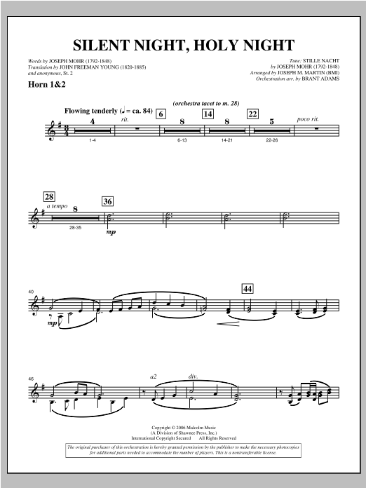 """Silent Night, Holy Night (from """"carols For Choir And Congregation"""") - F Horn 1,2 Sheet Music"""