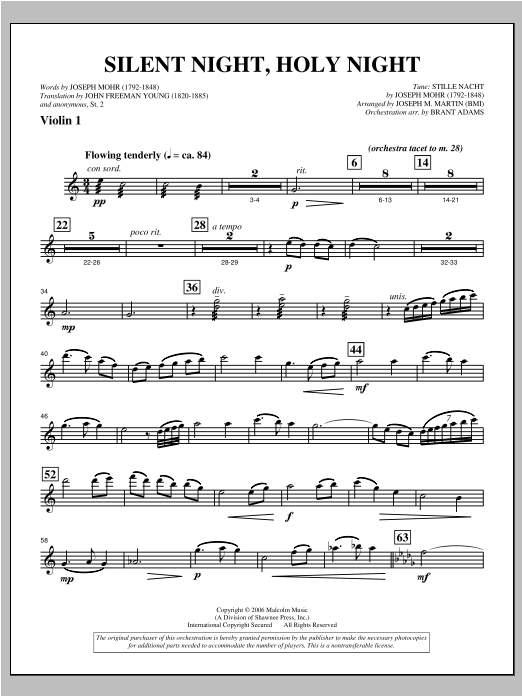 "Silent Night, Holy Night (from ""carols For Choir And Congregation"") - Violin 1 Sheet Music"
