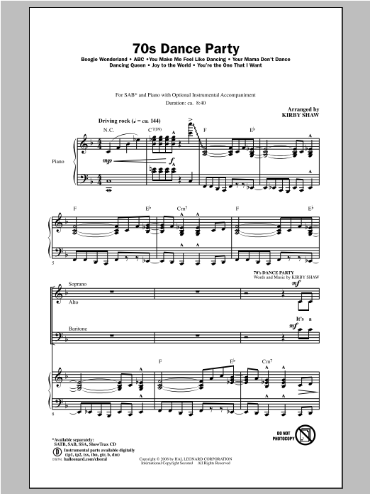 70s Dance Party (Medley) Sheet Music