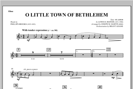 O Little Town Of Bethlehem (from Carols For Choir And Congregation) - Oboe Sheet Music