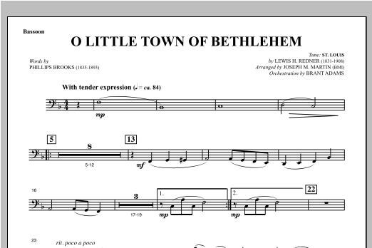 O Little Town Of Bethlehem (from Carols For Choir And Congregation) - Bassoon Sheet Music