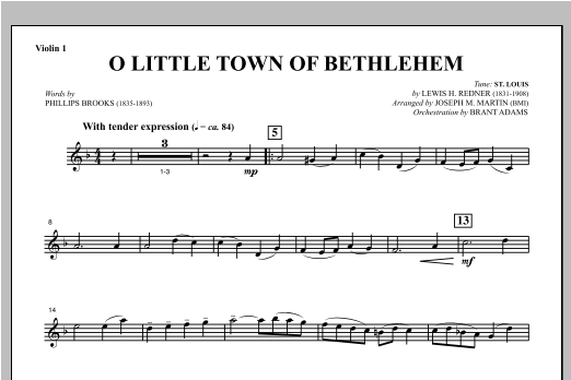 O Little Town Of Bethlehem (from Carols For Choir And Congregation) - Violin 1 Sheet Music