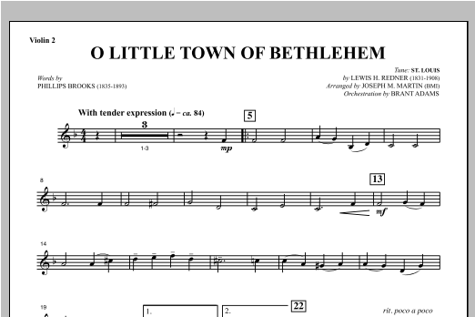 O Little Town Of Bethlehem (from Carols For Choir And Congregation) - Violin 2 Sheet Music