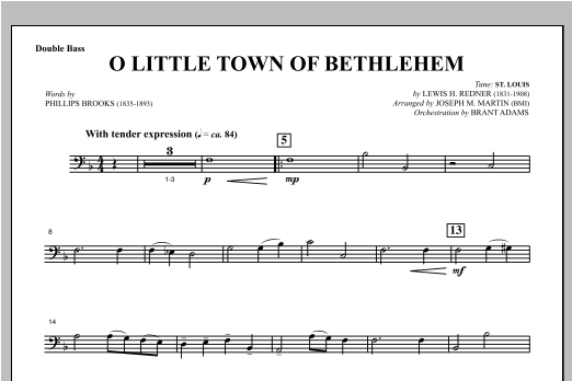 O Little Town Of Bethlehem (from Carols For Choir And Congregation) - Double Bass Sheet Music