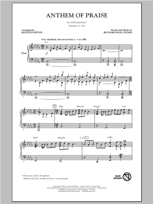 Partition chorale Anthem Of Praise de Keith Hampton - SATB