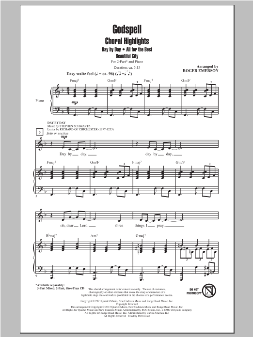 Godspell (Choral Highlights) (arr. Roger Emerson) Sheet Music