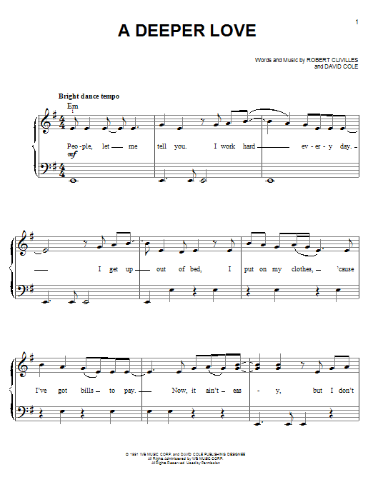 A Deeper Love Sheet Music