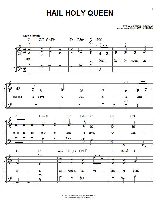 Hail Holy Queen Sheet Music