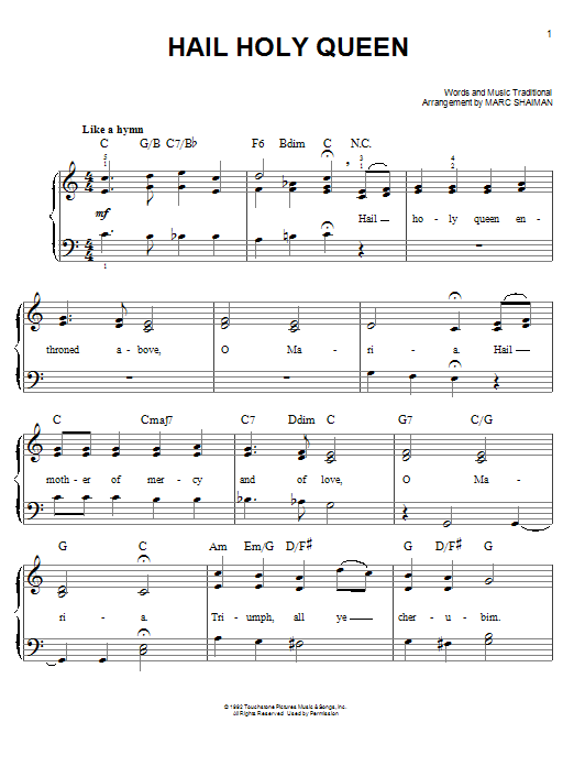 Partition piano Hail Holy Queen de Marc Shaiman - Piano Facile