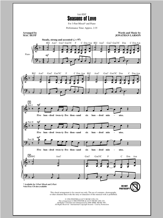 Seasons Of Love (from Rent) (arr. Mac Huff) Sheet Music