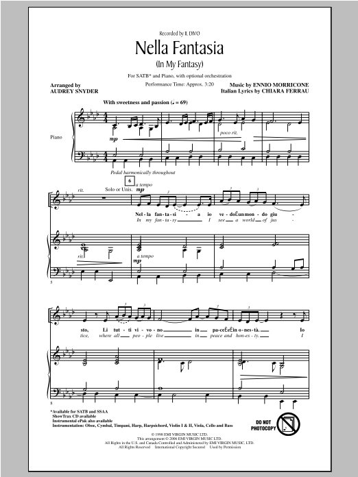 Nella Fantasia (In My Fantasy) (arr. Audrey Snyder) Sheet Music