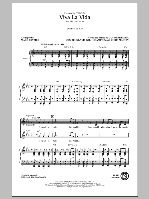 Viva La Vida (arr. Mark Brymer) Sheet Music
