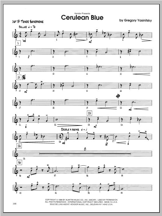 Cerulean Blue - Tenor Sax 1 Sheet Music