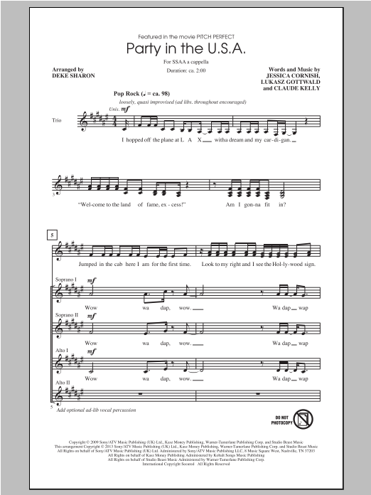 Party In The U.S.A. (arr. Deke Sharon) Sheet Music