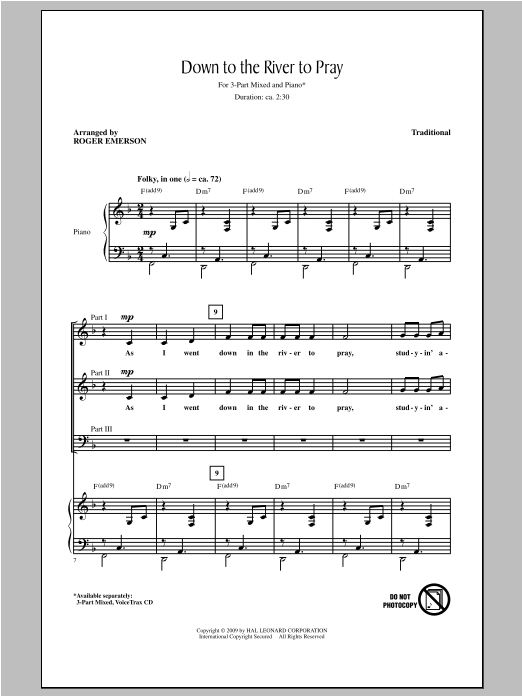 Down To The River To Pray (arr. Roger Emerson) Sheet Music