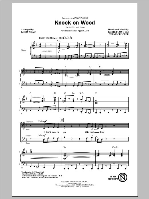 Knock On Wood (arr. Kirby Shaw) Sheet Music