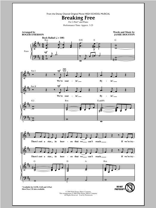 Breaking Free (from High School Musical) (arr. Roger Emerson) Sheet Music
