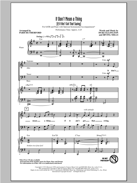 It Don't Mean A Thing (If It Ain't Got That Swing) (arr. Paris Rutherford) (SATB Choir)