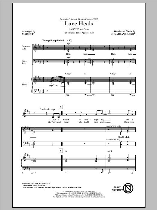 Partition chorale Love Heals de Jonathan Larson - SATB