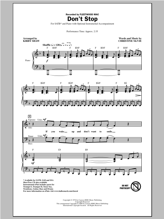 Partition chorale Don't Stop de Kirby Shaw - SATB