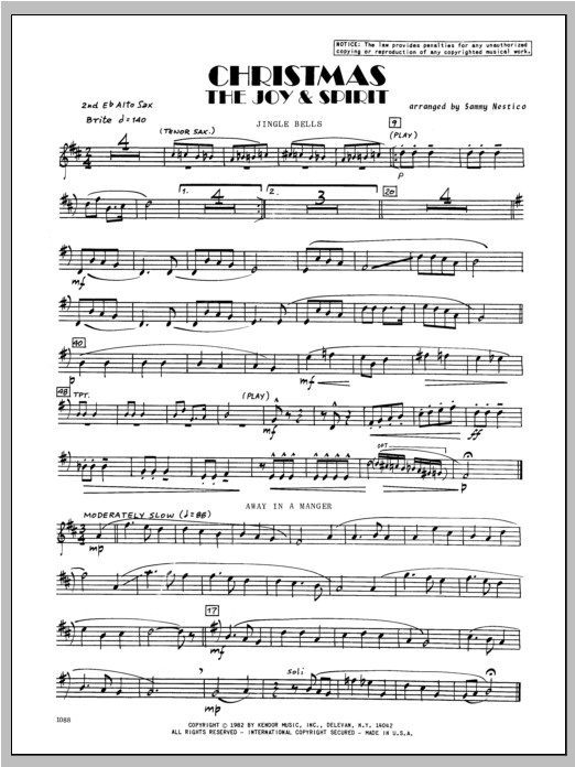 Christmas; The Joy & Spirit - Alto Sax 2 Sheet Music