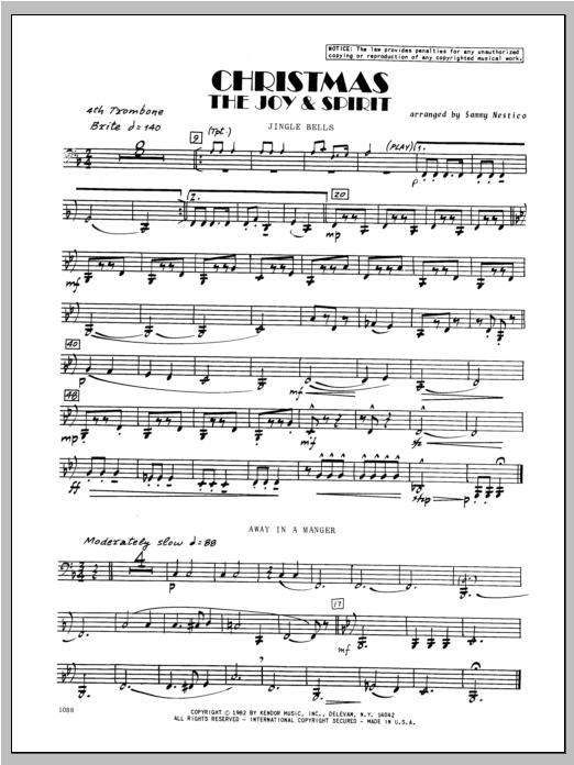 Christmas; The Joy & Spirit - Trombone 4 Sheet Music