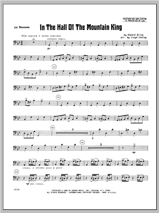 In the Hall of the Mountain King - Bassoon 1 Sheet Music