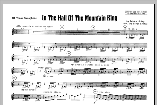 In the Hall of the Mountain King - Tenor Sax Sheet Music
