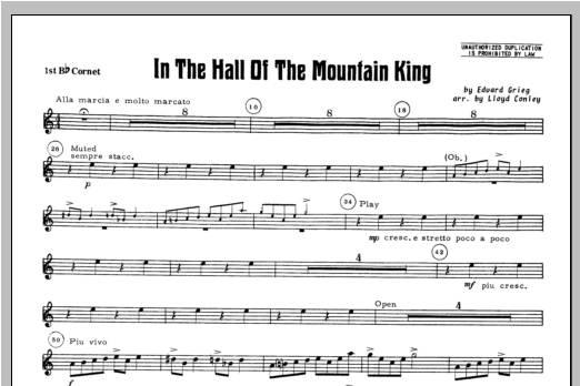 In the Hall of the Mountain King - Bb Cornet 1 Sheet Music