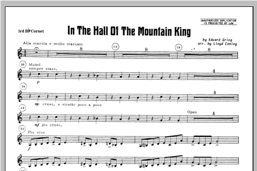 In the Hall of the Mountain King - Bb Cornet 3 Sheet Music