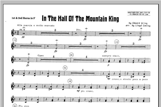 In the Hall of the Mountain King - F Horn 1 & 2 Sheet Music