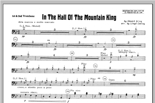 In the Hall of the Mountain King - Trombone 1, 2 Sheet Music