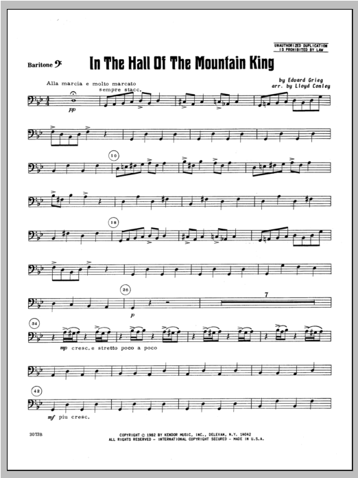 In the Hall of the Mountain King - Baritone B.C. Sheet Music