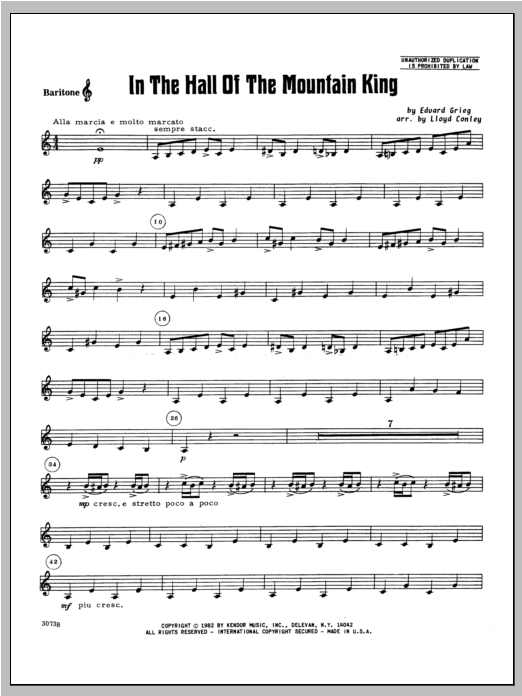 In the Hall of the Mountain King - Baritone T.C. Sheet Music