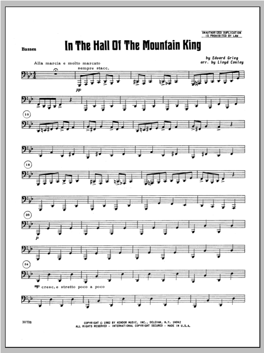 In the Hall of the Mountain King - Bass Sheet Music