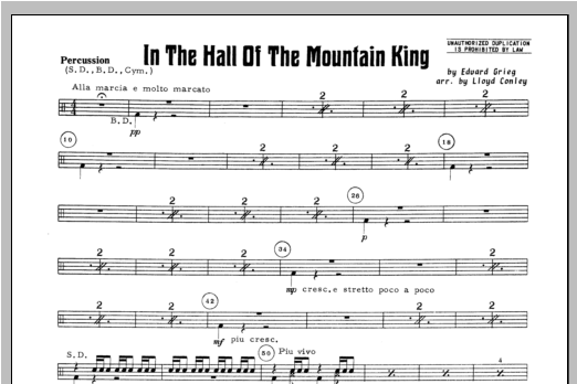 In the Hall of the Mountain King - Aux Percussion Sheet Music
