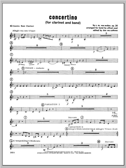 Concertino - Bass Clarinet Sheet Music