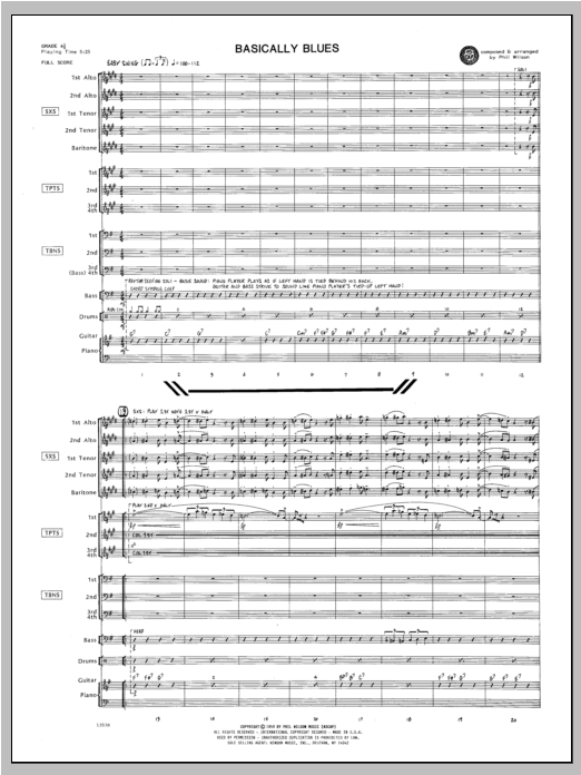 Basically Blues (COMPLETE) sheet music for jazz band by WILSON. Score Image Preview.