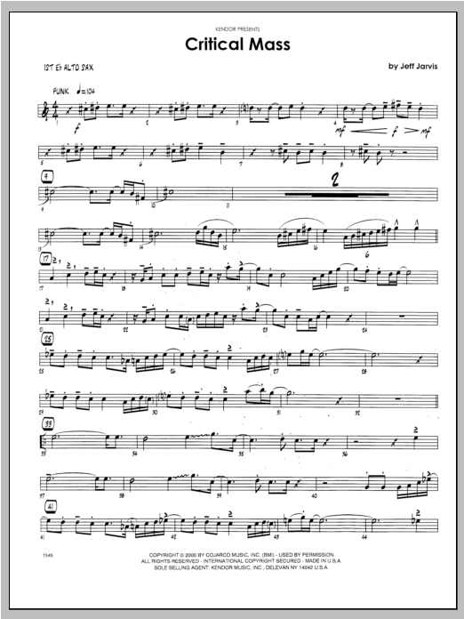 Critical Mass - Alto Sax 1 Sheet Music