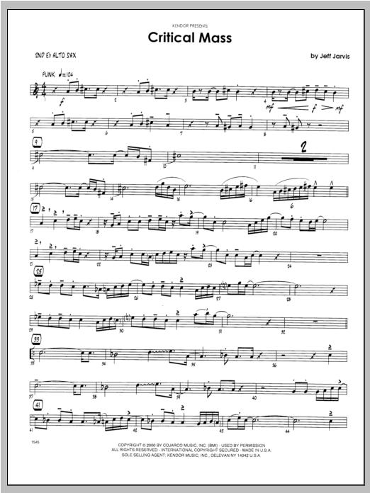 Critical Mass - Alto Sax 2 Sheet Music